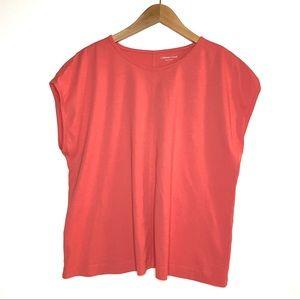 COLDWATER CREEK Cap Sleeve Center Seam T Shirt